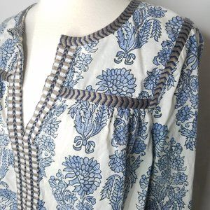 J. Crew printed embroidered peasant blouse